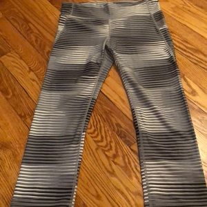 Gray, black and white cropped leggings